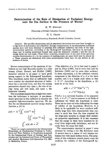 Determination of the Rate of Dissipation of Turbulent Energy near ...