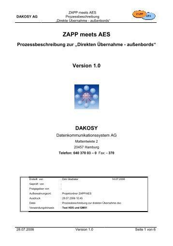 Prozessbeschreibung zur direkten Übernahme - DAKOSY ...