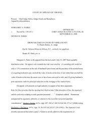 COURT OF APPEALS OF VIRGINIA