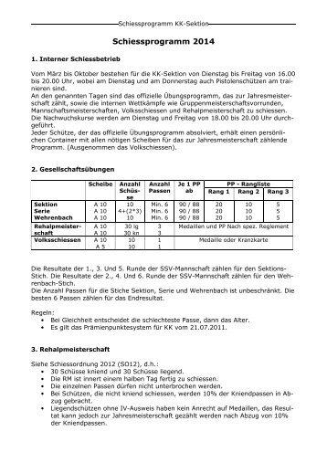 Gewehr 50m Schiessprogramm und Terminkalender - ssgn.ch