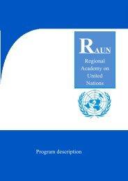 Regional Academy on United Nations Program description - acuns