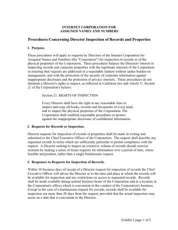 Procedures Concerning Director Inspection of Records and Properties