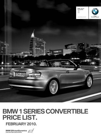 bmw 1 series convertible price list. february 2010. - BMW South Africa