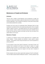 Maintenance of Capital and Dividends - Lavelle Coleman