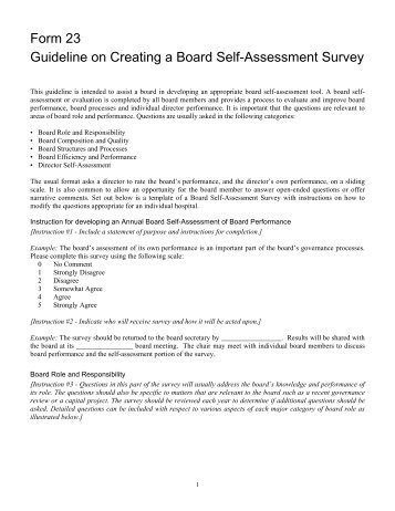 Form 23 Guideline on Creating a Board Self-Assessment Survey