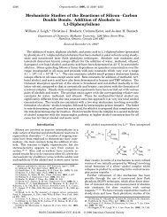Mechanistic Studies of the Reactions of Silicon-Carbon Double ...