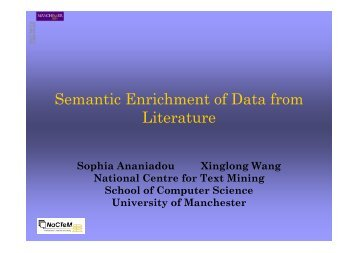 Semantic Enrichment of Data from Literature - Glasgow DSpace ...