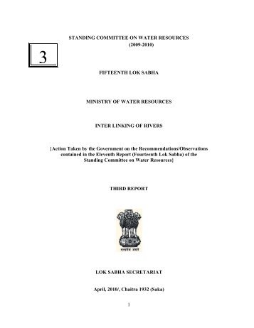 Third report of the Standing Committee on Water ... - India Water Portal