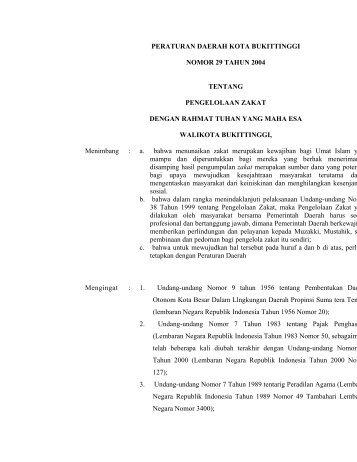 peraturan daerah kota bukittinggi nomor 29 tahun 2004 tentang ...