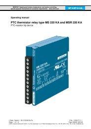 PTC thermistor relay type MS 220 KA and MSR 220 KA