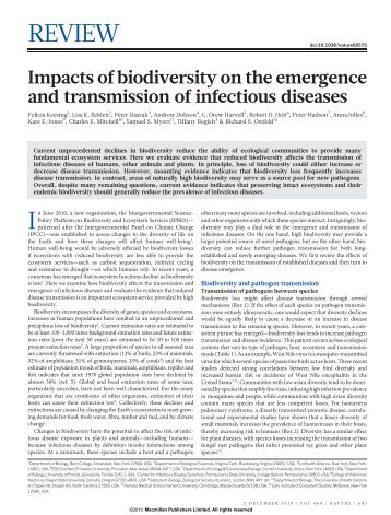 Impacts of biodiversity on the emergence and transmission of ...