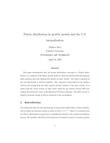 Pareto distribution in growth models and the U.S. ... - Thomas Piketty
