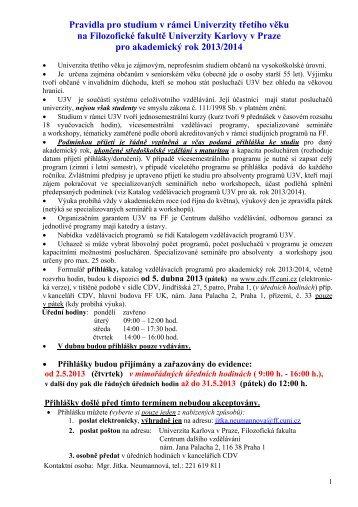 Pravidla pro studium v rámci Univerzity 3. věku ... - Filozofická fakulta