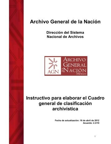 Cuadro general de clasificación archivística - Archivo General de la ...