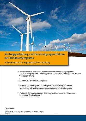 Vertragsgestaltung und Genehmigungsverfahren bei ... - Doebler PR