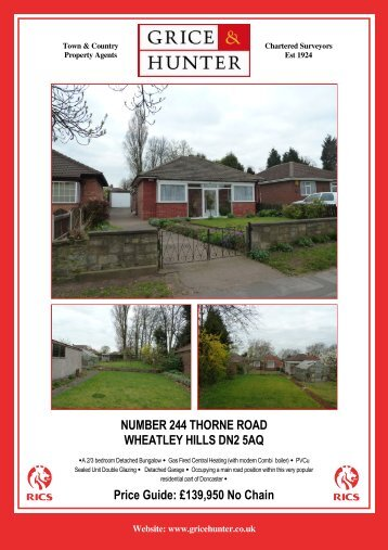 Price Guide: £139,950 No Chain NUMBER 244 ... - Grice & Hunter