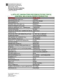 Catàleg de laboratoris inscrits que fan el control dels ... - RuralCat