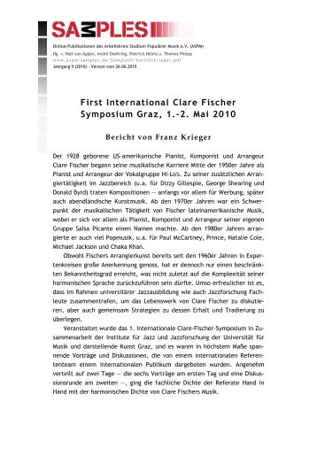 First International Clare Fischer Symposium Graz, 1.-2. Mai ... - ASPM