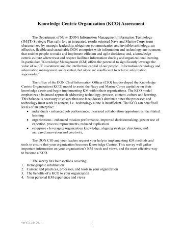Knowledge Centric Organization (KCO) Assessment - NASA Wiki