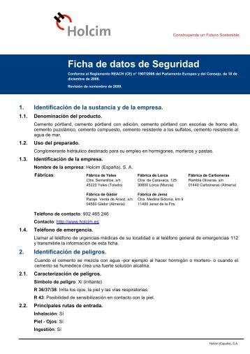 Ficha de datos de Seguridad - Holcim