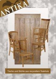 Tische und Stühle aus recyceltem Teakholz