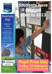 Students have delayed start to 2013 Pupil Free Day - Riverside ...