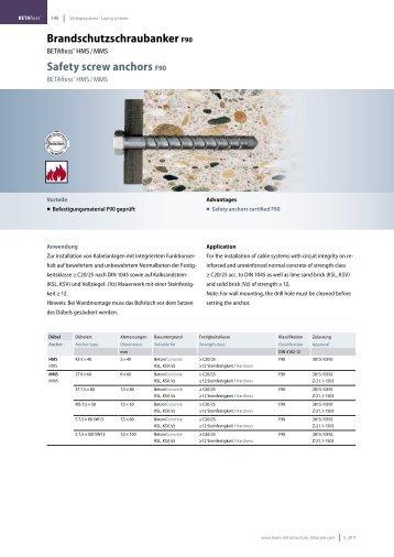 Brandschutzschraubanker F90 Safety screw anchors F90 - LEONI ...