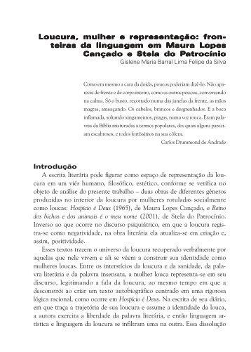Loucura, mulher e representação - Grupo de Estudos em Literatura ...