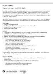 Fallstudie: sonnenschutz und lifestyle - Deutsche Krebshilfe eV