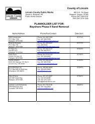 Planholders - Lincoln County, Oregon