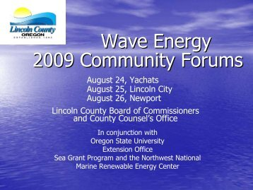 Lincoln County Community Forums 2009 - Lincoln County, Oregon