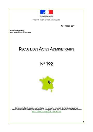 RAA 192 - Préfecture de la Côte-d'Or