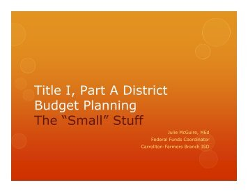 """Title I, Part A District Budget Planning The """"Small"""" Stuff - ACET"""
