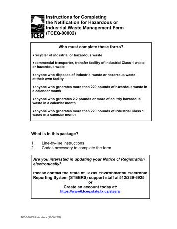 Instructions for Completing - TCEQ e-Services