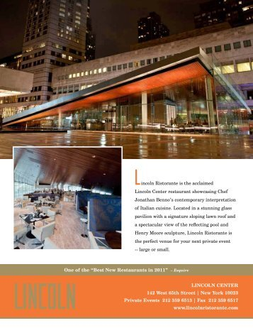 incoln Ristorante is the acclaimed Lincoln Center ... - Dine Here US