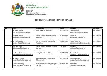 Branches - Department of Agriculture and Environmental Affairs