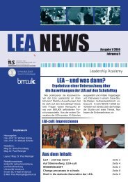 LEA NEWS Ausgabe 1/2009 - Leadership Academy