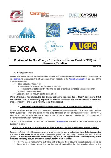 (NEEIP) on Resource Taxation - Euromines