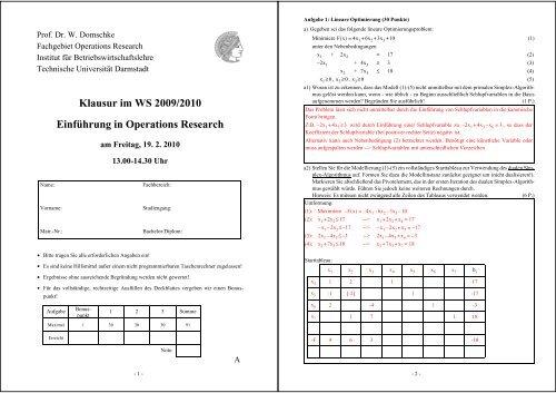 Klausur im WS 2009/2010 Einführung in Operations Research