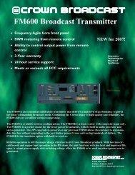FM600 brochure green - Crown Broadcast
