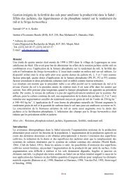 Gestion intégrée de la fertilité des sols pour améliorer la ... - MSAS