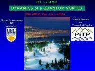 DYNAMICS of a QUANTUM VORTEX - Pacific Institute of Theoretical ...