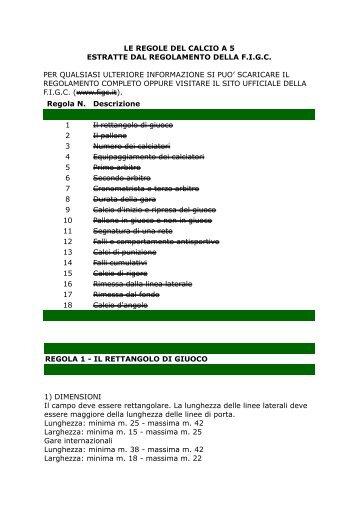 le regole del calcio a 5 estratte dal regolamento della ... - A. Rosmini