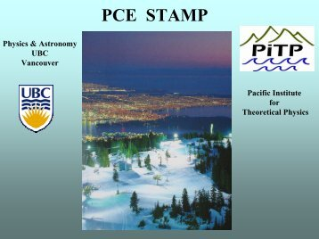 PCE STAMP - Pacific Institute of Theoretical Physics