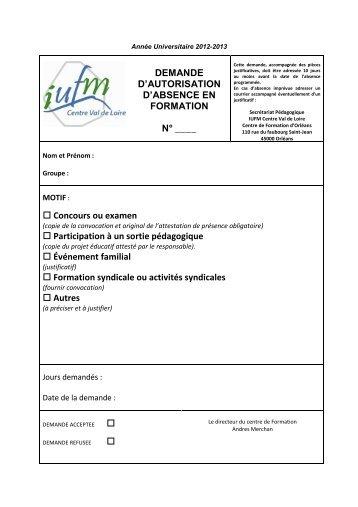 Demandes d'autorisation et de régularisation d'absence - IUFM