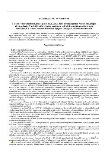 141/2008. (X. 30.) FVM rendelet - Mezőgazdasági és ...