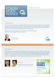 """Programm und Anmeldung """"Forum Study Nurse Kurs II"""""""