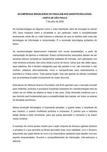 Clique aqui para ler a Carta de São Paulo - Inovação Unicamp