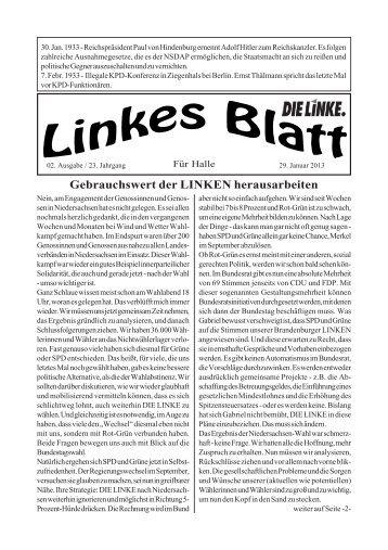 Ausgabe Nr. 02 vom 29. Januar 2013 - DIE LINKE. Halle /Saale
