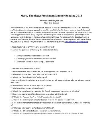 Freshman Theology Required Summer Reading Assignment